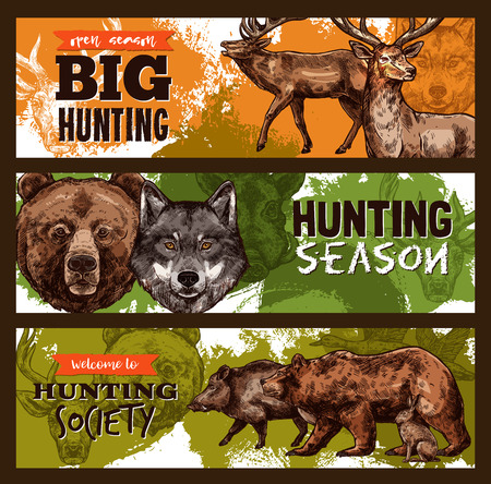 Hunting club or wild animals open season sketch banners design template. Vector hunt prey of elk or deer and grizzly bear or wolf and aper hog for hunting season or hunter trophy  イラスト・ベクター素材