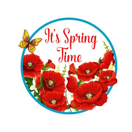 Springtime vector icon of poppy flowers bloom Illustration