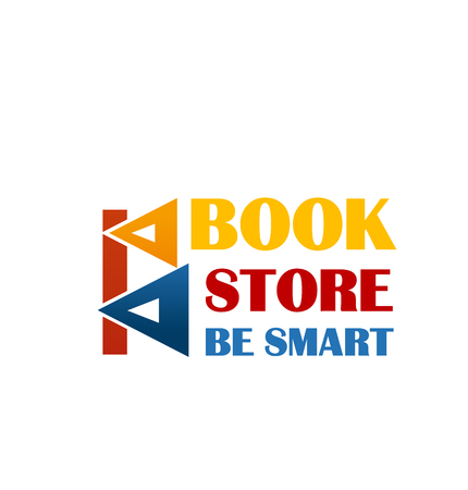 Colorful sign for book market. Yellow red and blue colors logo for bookstore with text be smart.