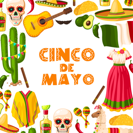 Cinco de Mayo festive card of Mexican fiesta party.  イラスト・ベクター素材