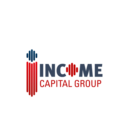 Design vector icon for capital group. Red and blue colors sign for income capital group company. Cash income and saving money concept. Icon for financial investment business, isolated on white background Çizim