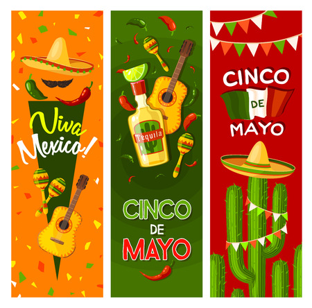 Cinco de Mayo fiesta party greeting banner for mexican holiday celebration. Flag of Mexico, sombrero and maracas, chili pepper, tequila margarita and guitar, cactus and jalapeno for invitation design