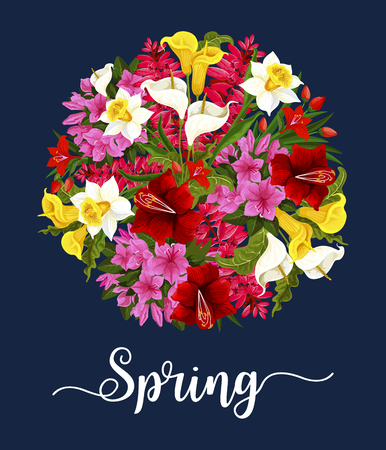 Spring flower greeting card with bouquet. Ilustracja