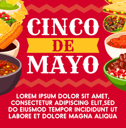 Mexican Cinco de Mayo vector celebration food banner. Stock Illustratie
