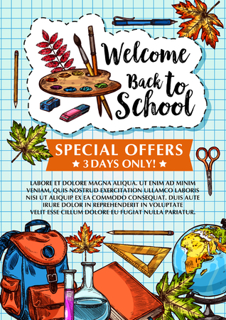 Back to school vector sale checkered page poster. Vettoriali