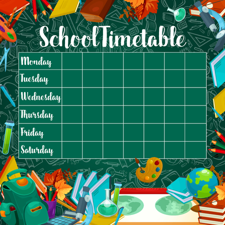 School timetable or weekly lesson schedule design on green chalkboard background. Çizim