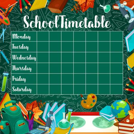 School timetable or weekly lesson schedule design on green chalkboard background. Illusztráció