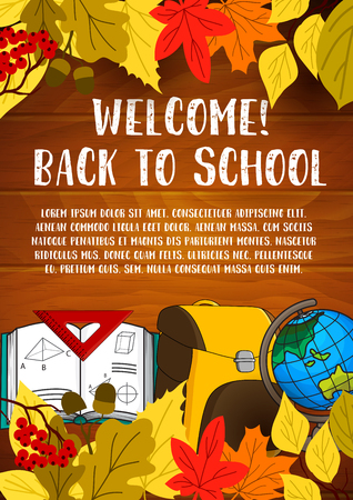 Welcome Back to School poster design template Illustration