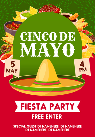 Cinco de Mayo mexican holiday sombrero with festive food invitation banner for fiesta party template. Illustration