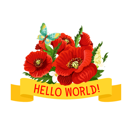 Hello World flowers icon of poppy and spring vector illustration Ilustracja