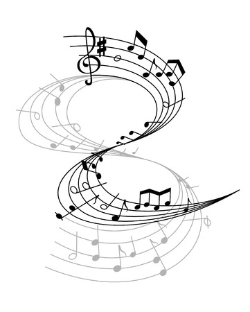 Music notes on scale isolated vector illustration