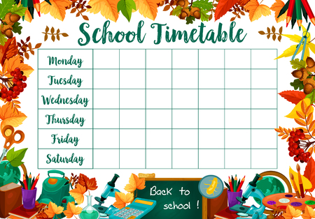 School lessons timetable schedule vector template Illustration