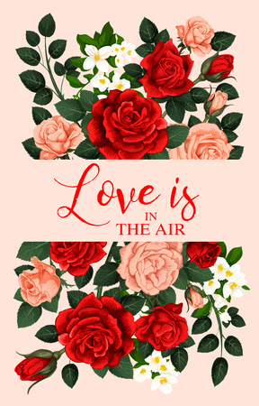 Love and roses vector banner Illustration