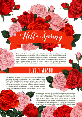 Vector springtime or roses flowers poster