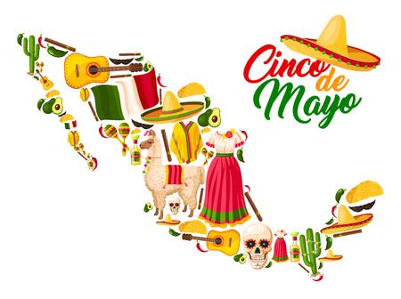 Mapa Meksyku z symbolami wakacji Cinco de Mayo. Ilustracje wektorowe