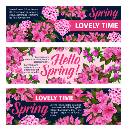 Vector flowers banners for springtime season