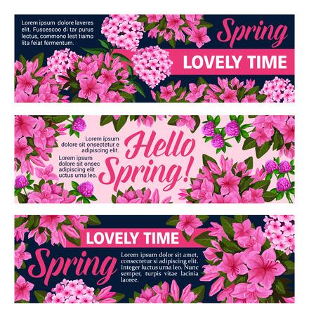 Vector flowers banners for springtime season