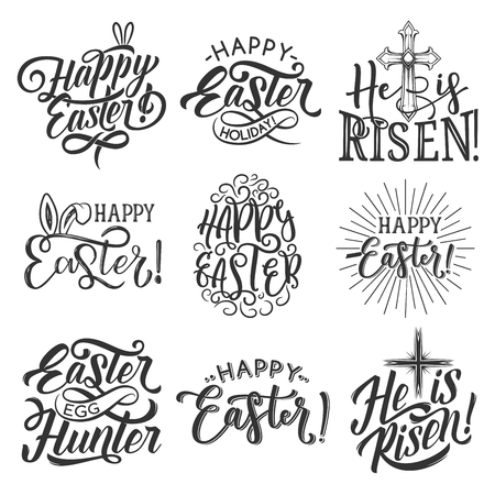 Easter holiday badges vector illustration set