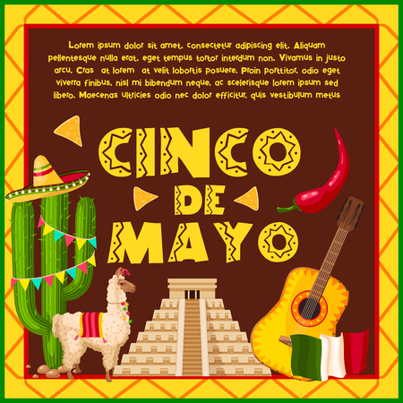 Mexican holiday greeting card for Cinco de Mayo celebration. Çizim