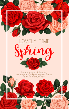 Lovely time spring vector banner with red and orange roses. Floral design on beige background with white frame inside. Image for greeting card, concept of spring holidays, love and romance