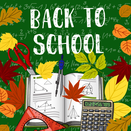 Back to School poster design of book, ruler and calculator with September autumn maple and rowan or oak leaf on green chalkboard. Vector school scissors, geometry formula in copybook and oak foliage