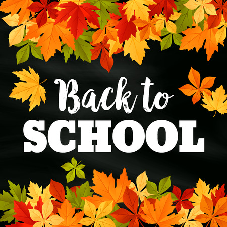 Back to School poster of September autumn leaves foliage. Vector falling maple, oak.