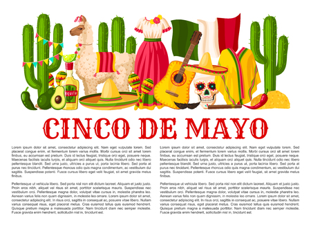 Cinco de Mayo Mexican holiday celebration poster for Mexico national holiday party or fiesta. Vector design of traditional Mexican sombrero, jalapeno pepper, guitar and cactus tequila and Mexico flag.