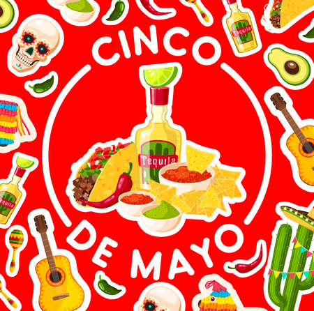 Cinco de Mayo holiday poster with mexican fiesta party food and drink. Chili pepper, avocado guacamole and jalapeno, taco, nachos and salsa, tequila and lime, framed by sombrero, maracas and cactus Illustration