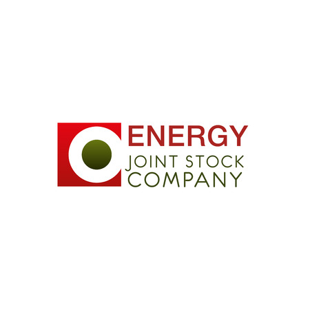 Creative logo for energy joint stock company. Symbol in red and green colors isolated on white background. Abstract vector logo design for energy industry. Illustration