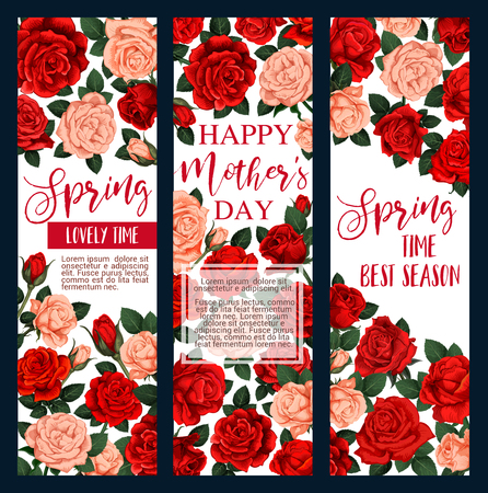 Mothers Day flower greeting card design for Spring Holiday Illustration