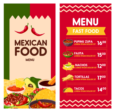 Cinco de Mayo Mexican food menu template for Mexico holiday celebration.