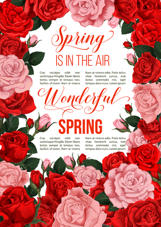 Spring time greeting card of flowers for springtime holiday season celebration. Vector poster design of red roses flowers bunch in blooming blossoms for seasonal Spring is in Air quotes