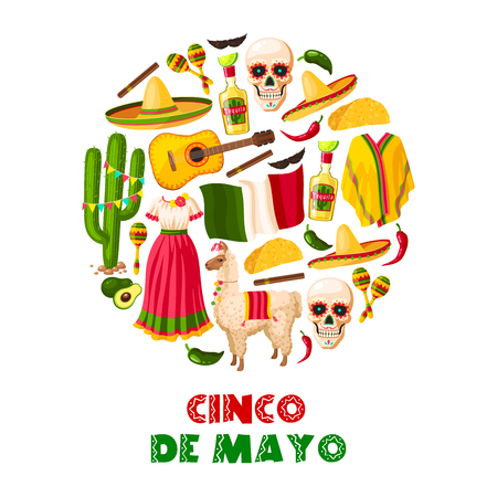 Mexican holiday greeting card for Cinco de Mayo fiesta party. Sombrero hat, chili pepper and jalapeno, maracas. Illustration