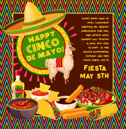 Cinco de Mayo vector Mexican celebration poster Stock Illustratie