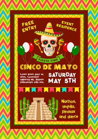 Vector invitation for Mexican Cinco de Mayo party Illustration