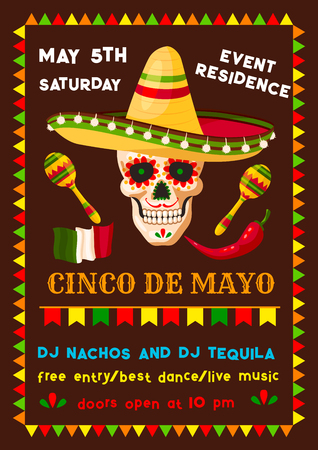 Vector Mexican Cinco de Mayo fiesta party poster