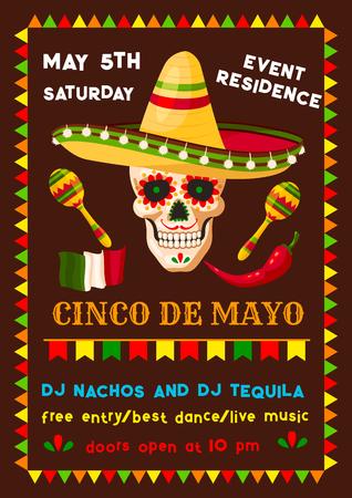 矢量墨西哥Cinco de Mayo Fiesta派对海报