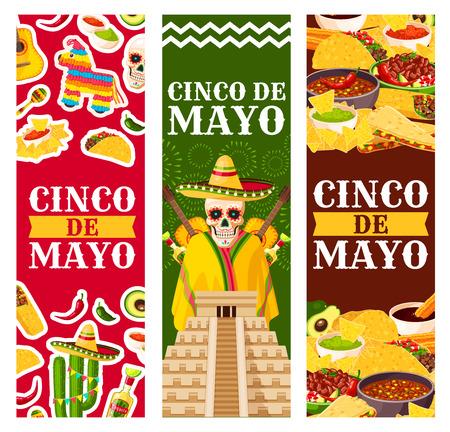 Cinco de Mayo墨西哥矢量问候横幅集