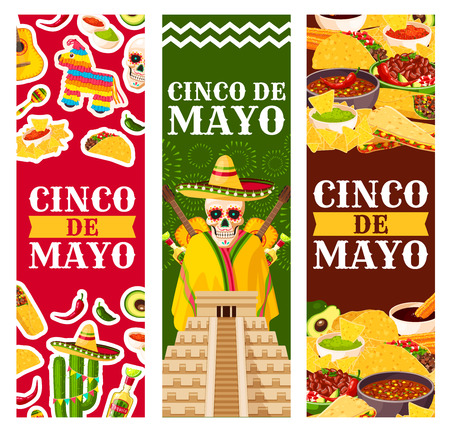 Cinco de Mayo Mexican vector greeting banners set