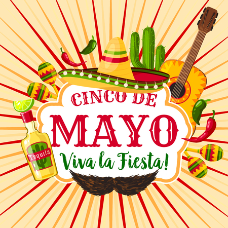 Cinco de Mayo mexican holiday greeting poster. Fiesta party sombrero, maracas, chili and jalapeno pepper, tequila margarita, cactus and guitar for Latin American spring festival themes design