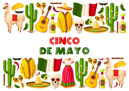 Cinco de Mayo greeting card for Mexican holiday celebration of jalapeno pepper, sombrero and tequila. Vector traditional design for Mexico national holiday party or fiesta of Mexican flag and symbols
