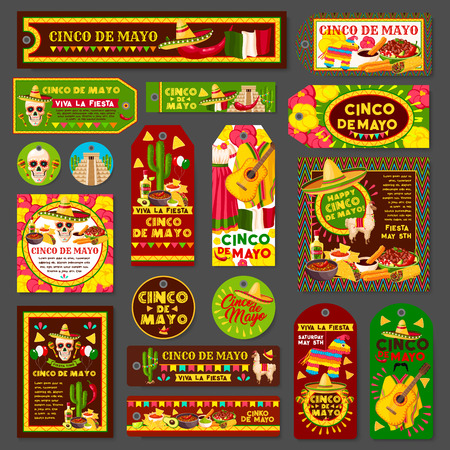 Cinco de Mayo mexican fiesta party tag and greeting card set. Latin american holiday sombrero hat, chili and jalapeno pepper, maracas, tequila margarita and cactus, festive food and flag of Mexico