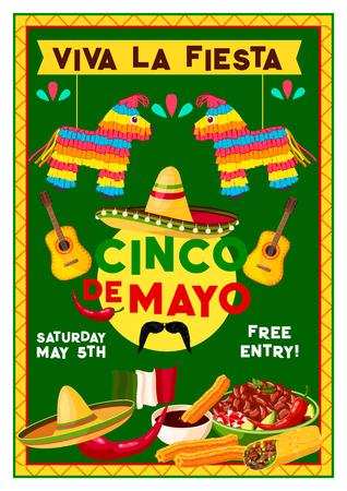 Cinco de Mayo party fiesta invitation flyer for Mexican national holiday celebration. Vector design of Mexico sombrero, jalapeno pepper and cactus tequila with mustaches and traditional food Illustration