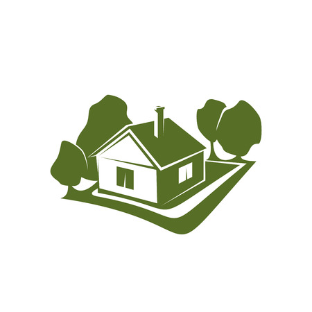 Green sign of house and trees
