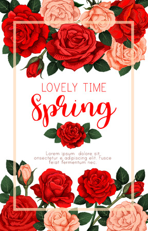 Vector floral roses poster for spring time season