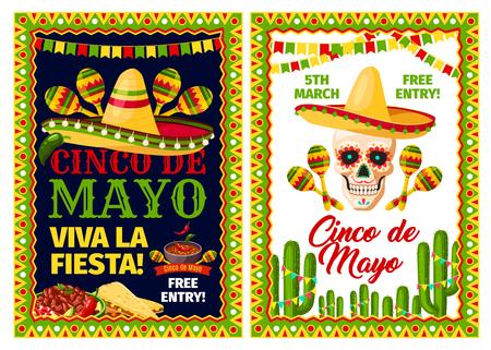 Cinco de Mayo mexican holiday card of fiesta party Vectores