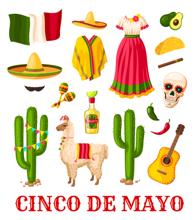 Cinco de Mayo mexican holiday celebration icon Illustration