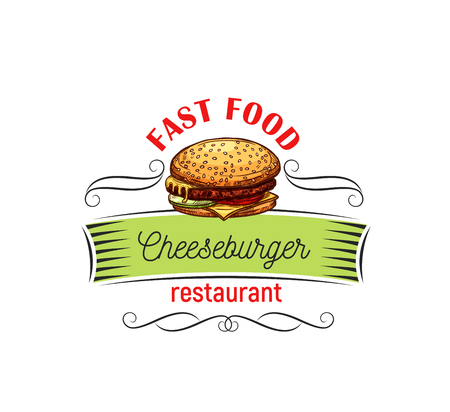 Appetizing cheeseburger for fast food design.