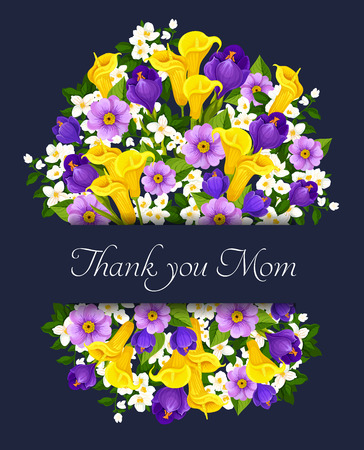 Thank You Mom floral greeting card for Mothers Day holiday. Vector design of spring floral bunch of yellow tulips and white snowdrops, springtime bouquet of blue crocuses flowers for Mother love Ilustrace