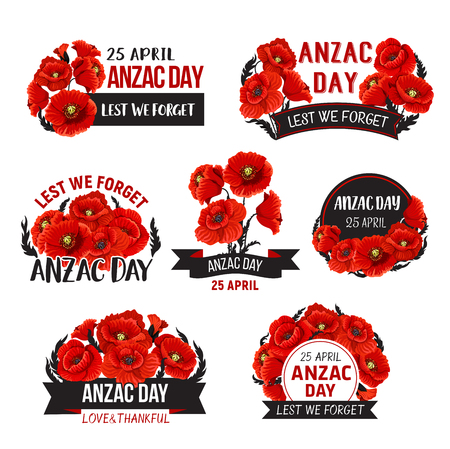 Anzac Day Lest We Forget poppy vector ribbons icons Illustration